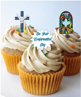 Confirmation Blue Stand Up Cupcake Toppers